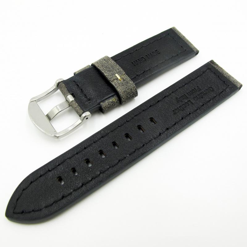 全新22mm代用錶帶 手工皮革 意大利軟身灰黑色牛皮通用錶帶配316L精鋼針扣 合適 Panerai, Seiko, Tudor, Citizen, Omega or any watch