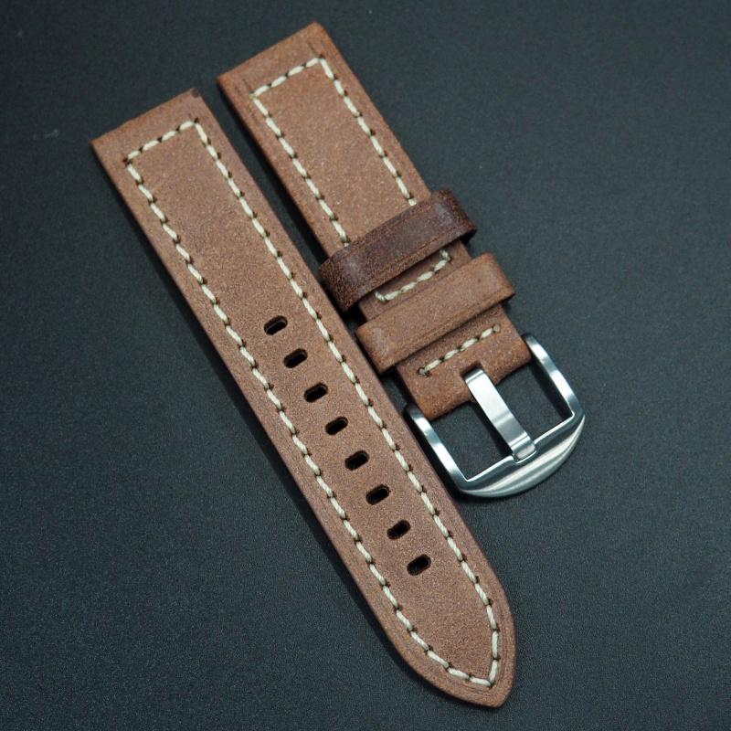 22mm 手工皮革 意大利軟身橙紅色牛皮通用錶帶