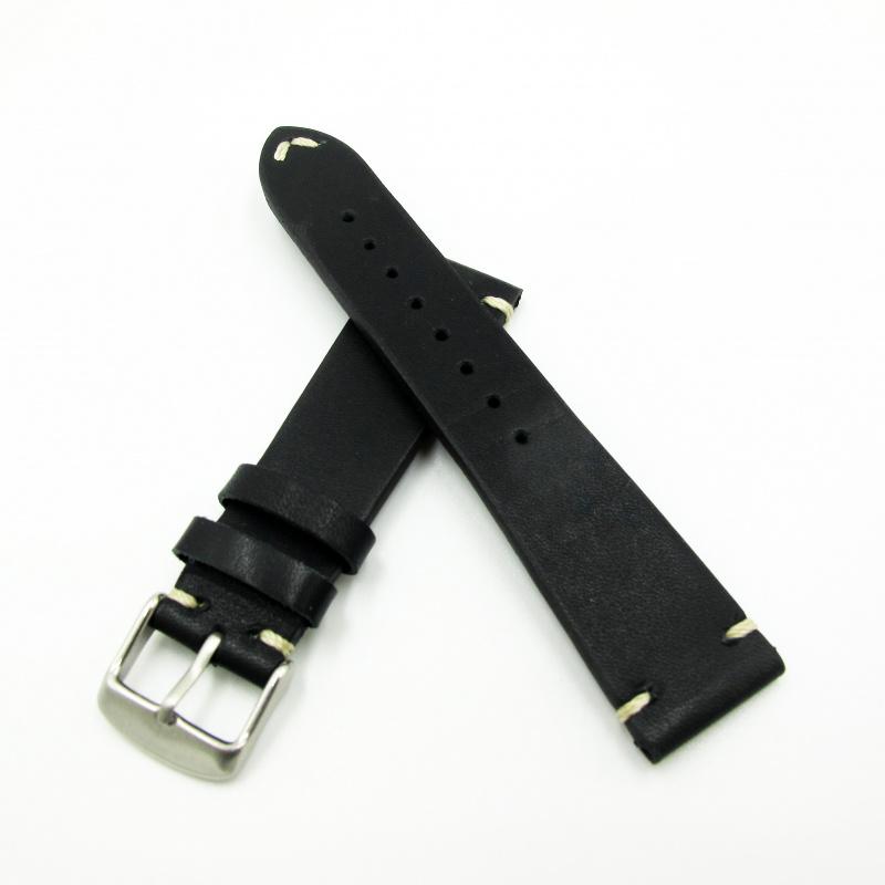 全新22mm代用錶帶 手工皮革 意大利黑色牛皮錶帶配316L精鋼針扣 合適 Panerai, Seiko, Tudor, Citizen, Omega or any watch