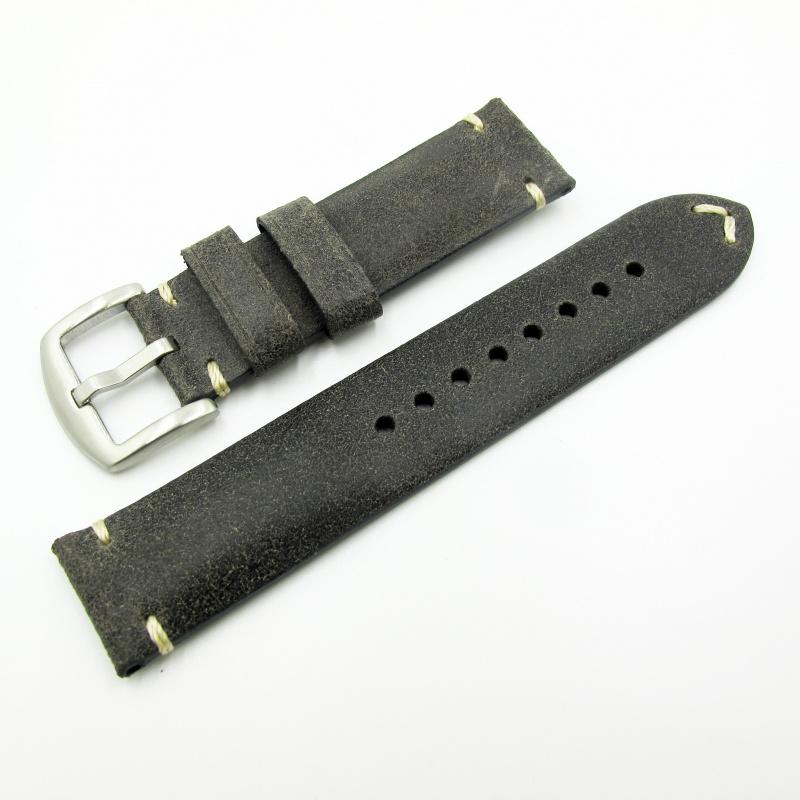 全新22mm代用錶帶 手工皮革 意大利軟身黑色牛皮通用錶帶配316L精鋼針扣 合適 Panerai, Seiko, Tudor, Citizen, Omega or any watch