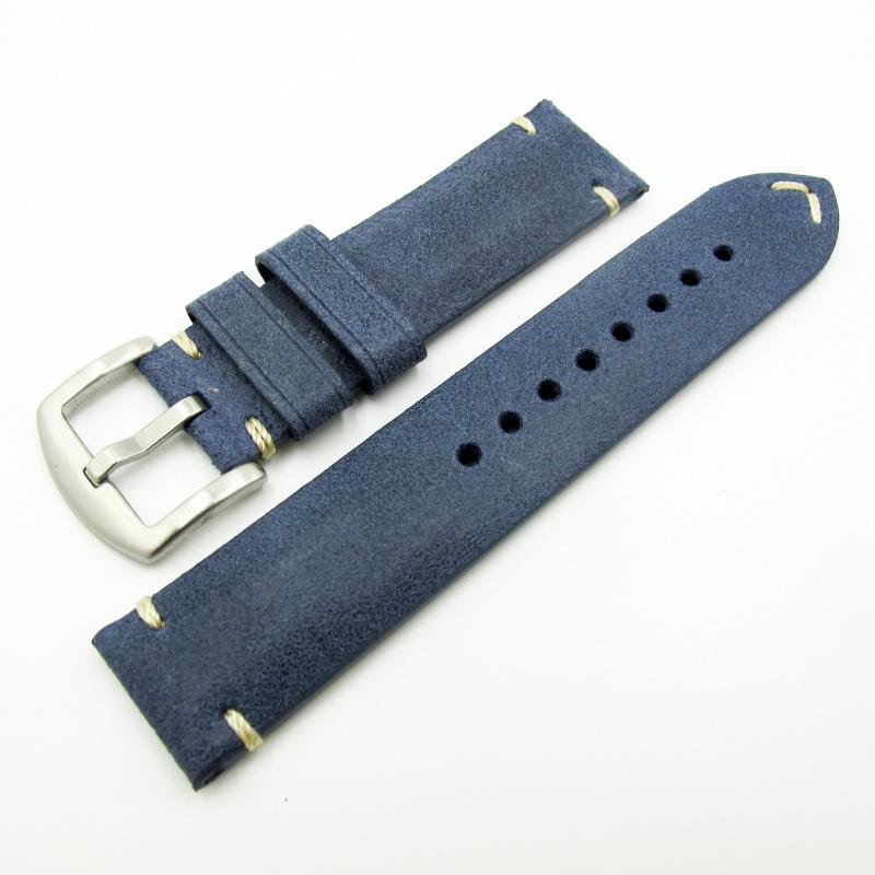 全新22mm代用錶帶 手工皮革 意大利軟身藍色牛皮通用錶帶配316L精鋼針扣 合適 Panerai, Seiko, Tudor, Citizen, Omega or any watch