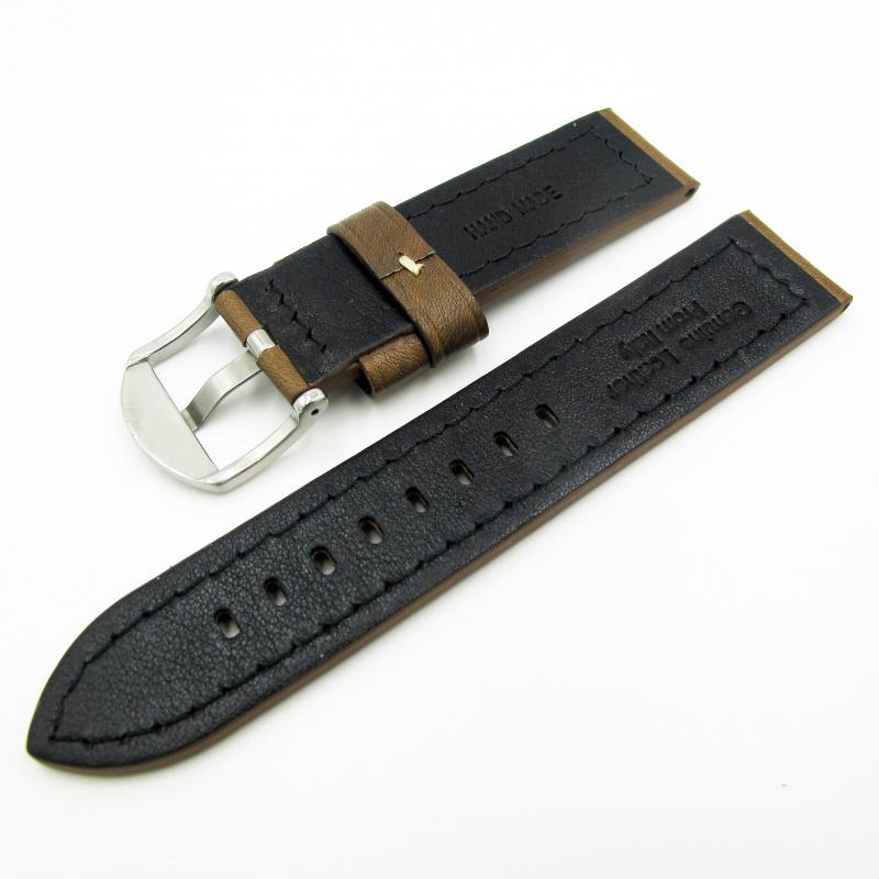 全新22mm代用錶帶 手工皮革 意大利鞍褐色牛皮通用錶帶配316L精鋼針扣 合適 Panerai, Seiko, Tudor, Citizen, Omega or any watch