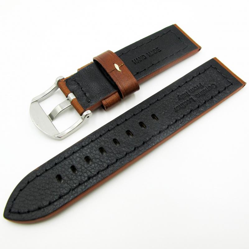 全新22mm代用錶帶 手工皮革 意大利啡色牛皮通用錶帶配316L精鋼針扣 合適 Panerai, Seiko, Tudor, Citizen, Omega or any watch