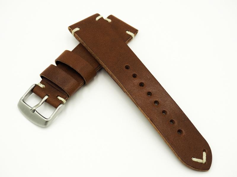 22mm通用錶帶 意大利真皮 啡色懷舊牛皮錶帶配316L精鋼錶扣 適合IWC, Seiko, Panerai, Citizen, Tudor
