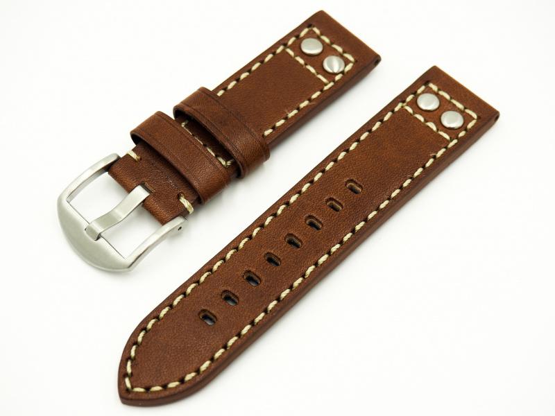 22mm通用錶帶 手工皮革 啡色雙釘復古牛皮粗線錶帶配316L精鋼錶扣  適合IWC, Seiko, Panerai, Citizen, Tudor