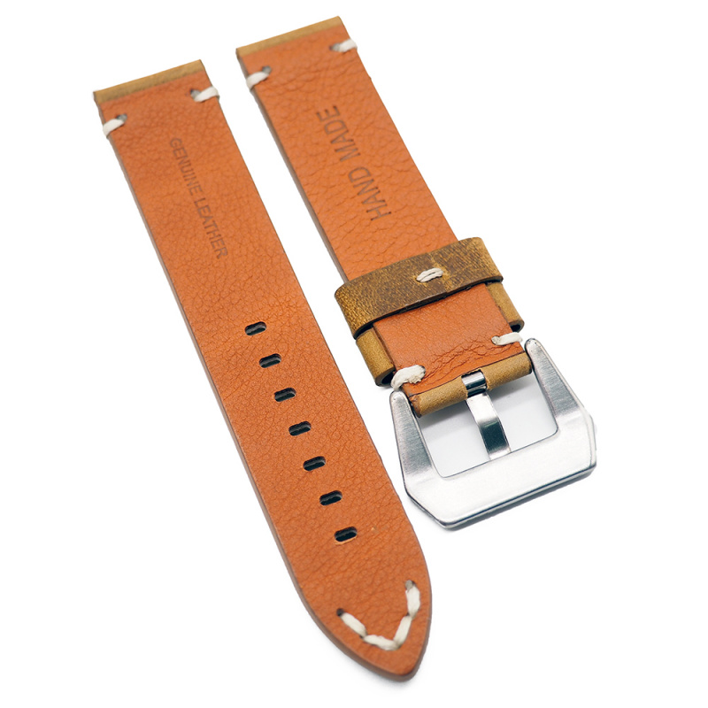 22mm 鉻黃色復古牛皮錶帶