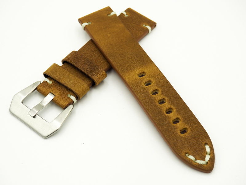 22mm通用錶帶 手工皮革 鉻黃色復古牛皮粗線錶帶配316L精鋼錶扣 適合IWC, Seiko, Panerai, Citizen, Tudor