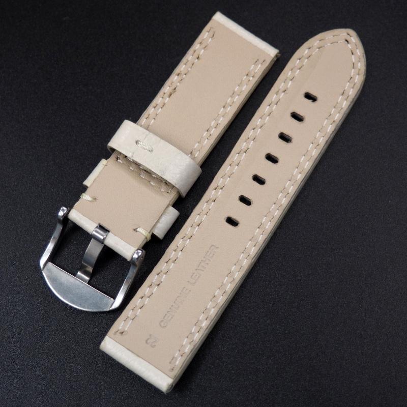 22mm 白色荔枝紋色牛皮錶帶