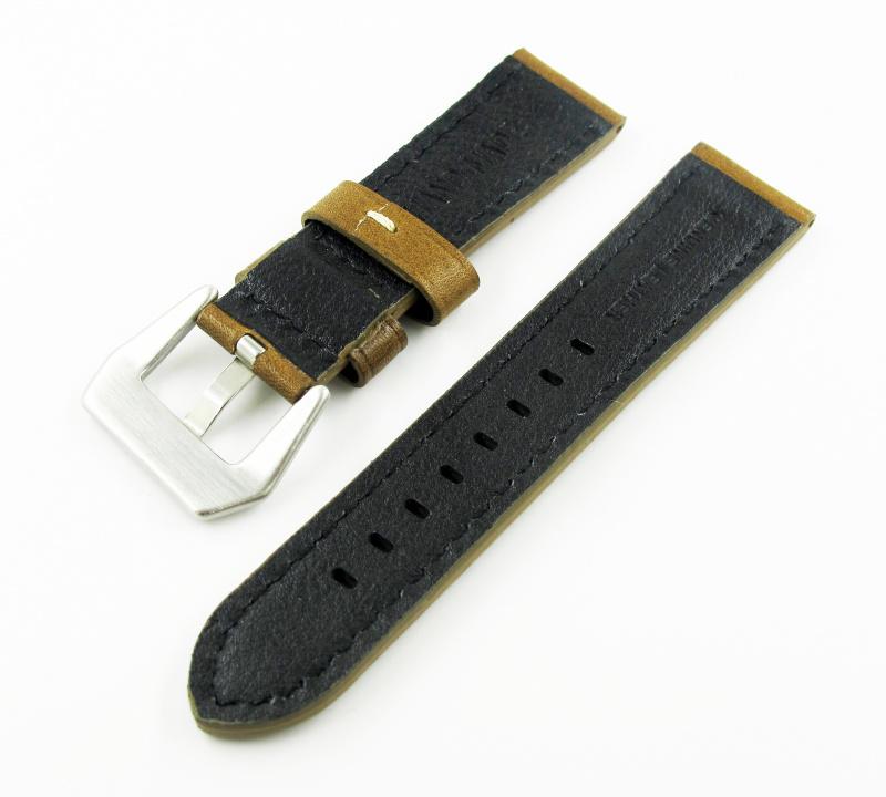 22mm通用錶帶 手工皮革 暗金菊色牛皮錶帶配316L精鋼錶扣  適合Panerai, Tudor, IWC, Seiko, Citizen