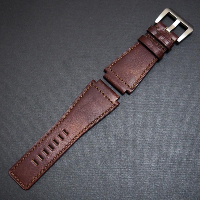 24mm Bell & Ross Style 優質磚紅牛皮錶帶