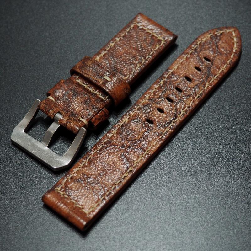 24mm Panerai Style 橙色牛皮錶帶