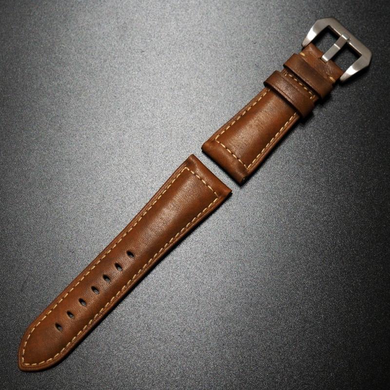 26mm Panerai Style 棕色優質牛皮錶帶