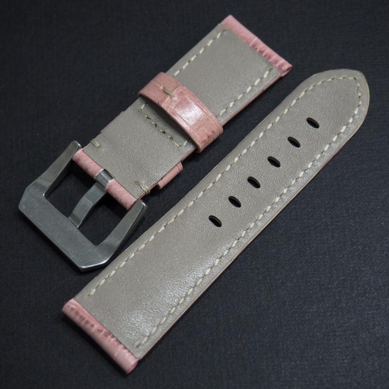 22mm Panerai Style 粉紅色鱷魚皮紋牛皮錶帶 (女裝尺寸)