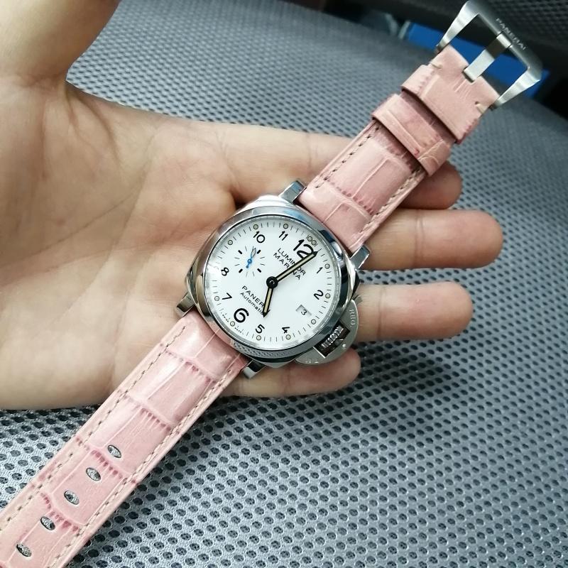 22mm Panerai Style 粉紅色鱷魚皮紋牛皮錶帶 (女裝短帶)