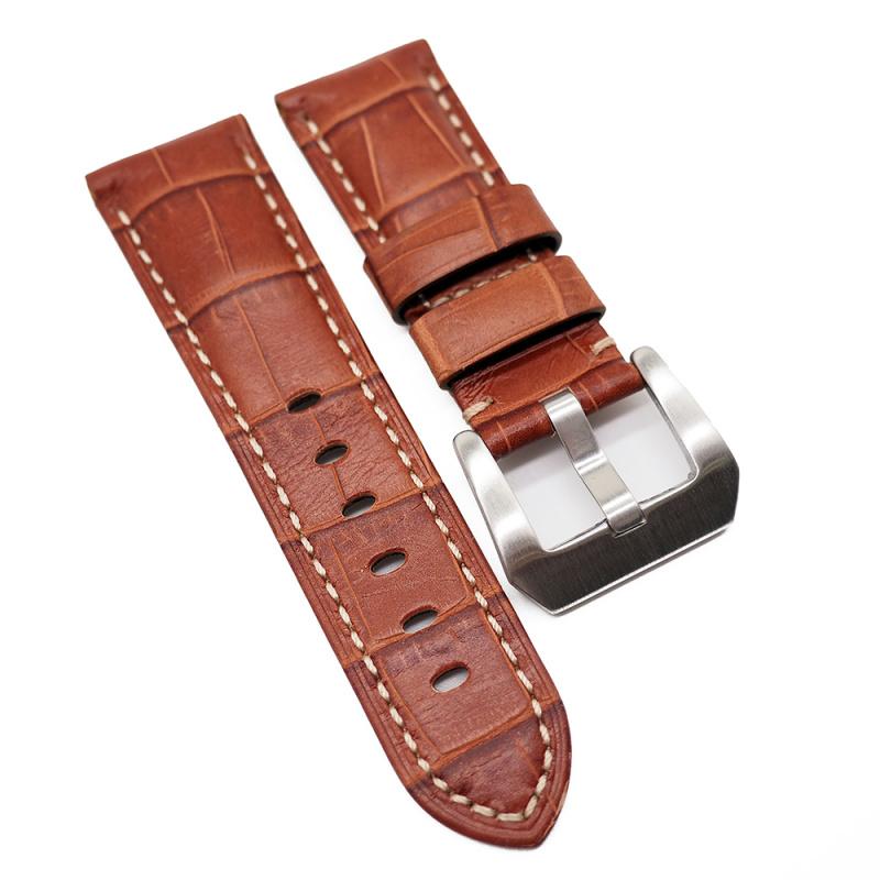22mm Panerai Style 棕色鱷魚皮紋牛皮錶帶 (女裝短帶)