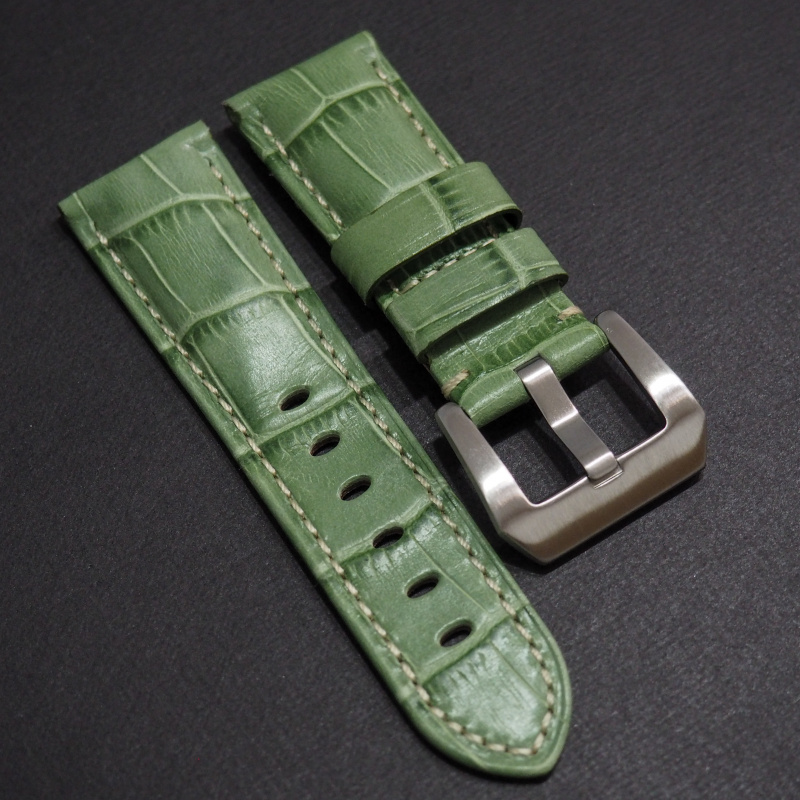22mm Panerai Style 翡翠綠色鱷魚皮紋牛皮錶帶 (女裝尺寸)