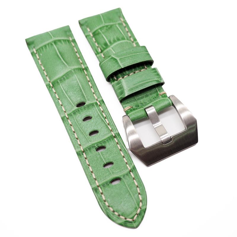 22mm Panerai Style 翡翠綠色鱷魚皮紋牛皮錶帶 (女裝短帶)