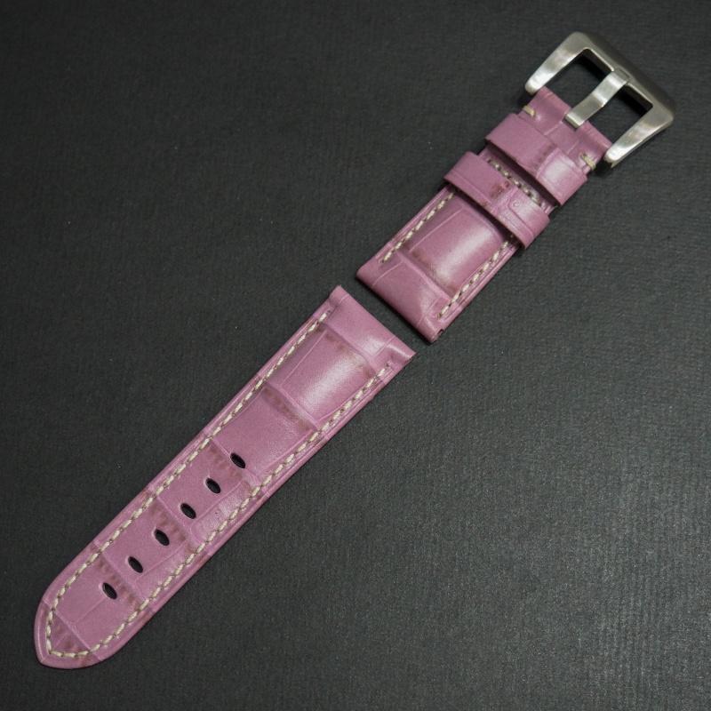 22mm Panerai Style 淺紫色鱷魚皮紋牛皮錶帶 (女裝尺寸)
