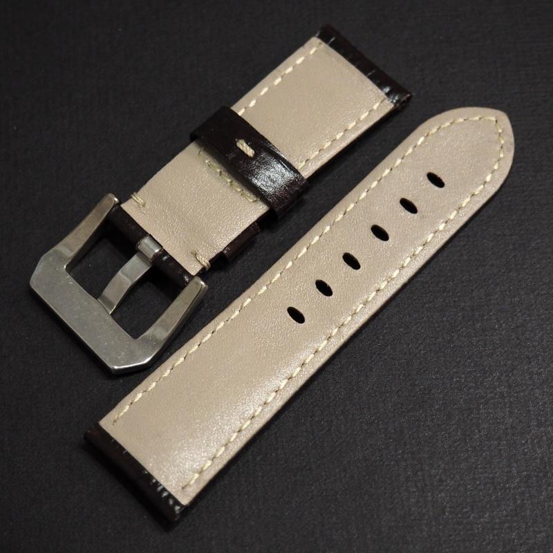 22mm Panerai Style 暗棕色鱷魚皮紋牛皮錶帶 (女裝尺寸)
