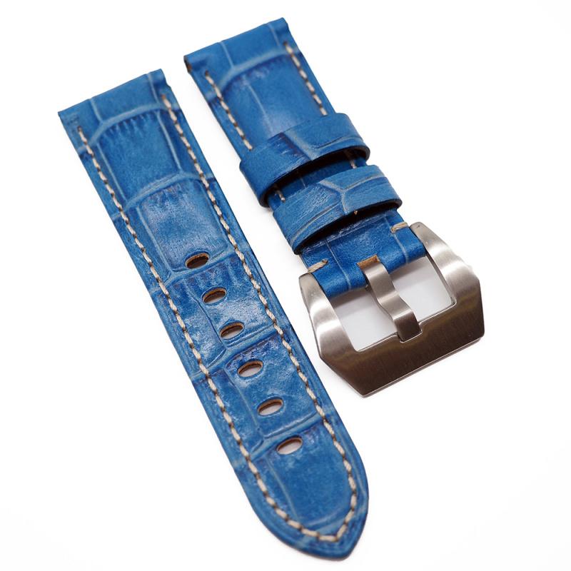 22mm Panerai Style 藍色鱷魚皮紋牛皮錶帶 (女裝短帶)