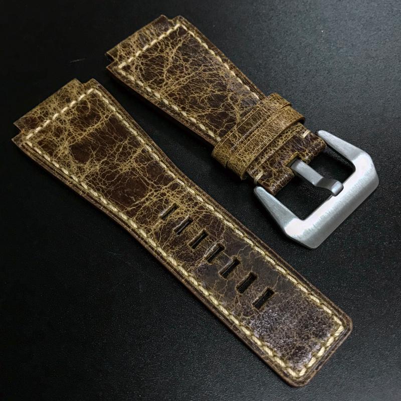 24mm Bell & Ross Style 優質棕色牛皮錶帶