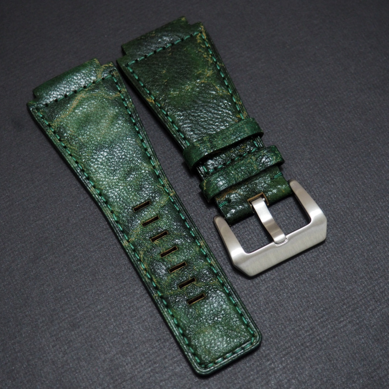 24mm Bell & Ross Style 優質森林綠色牛皮錶帶