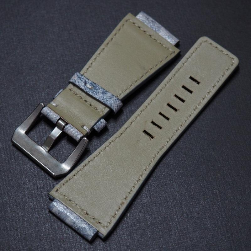 24mm Bell & Ross Style 優質白/藍拼色牛皮錶帶