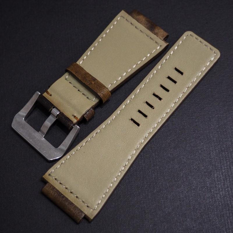 24mm Bell & Ross Style 優質棕/黑拼色牛皮錶帶