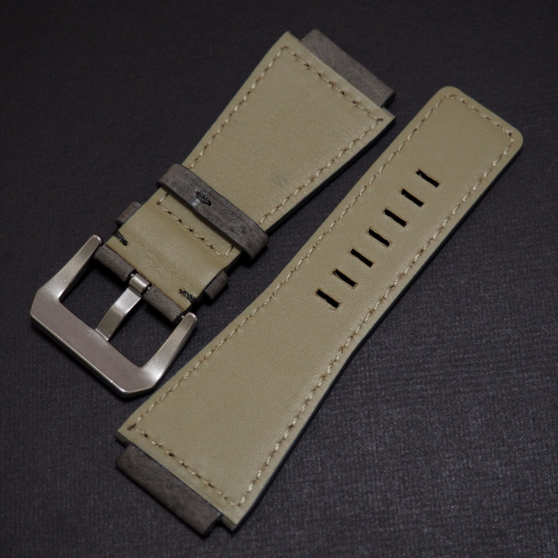 24mm Bell & Ross Style 優質煙灰色牛皮錶帶