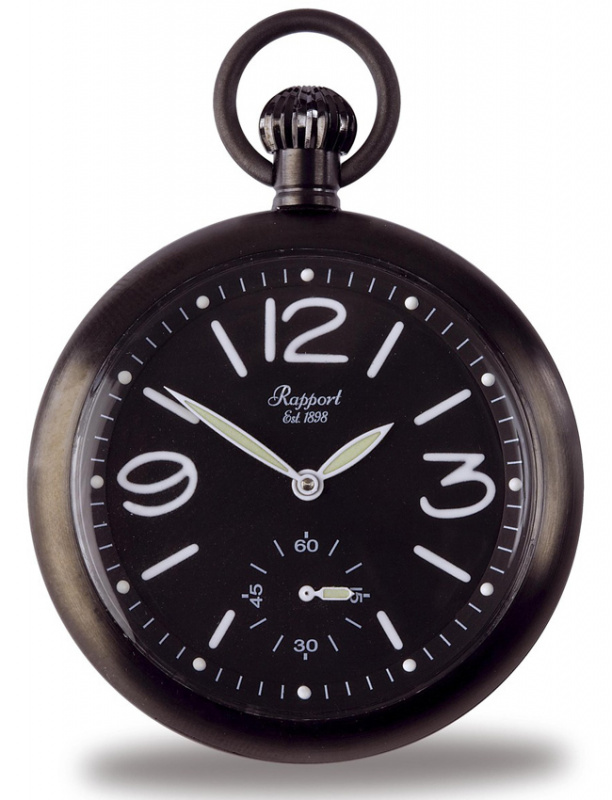 Rapport Black-Ion Plated Pocket Watch PW35