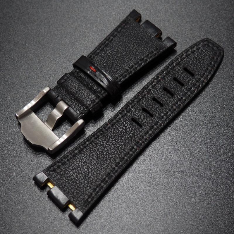 28mm Audemars Piguet Royal Oak Offshore 優質黑/ 紅拼色鱷魚皮錶帶