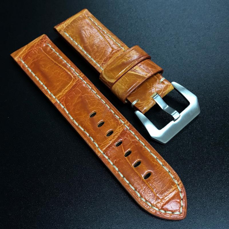24mm Panerai 橙色鱷魚皮錶帶