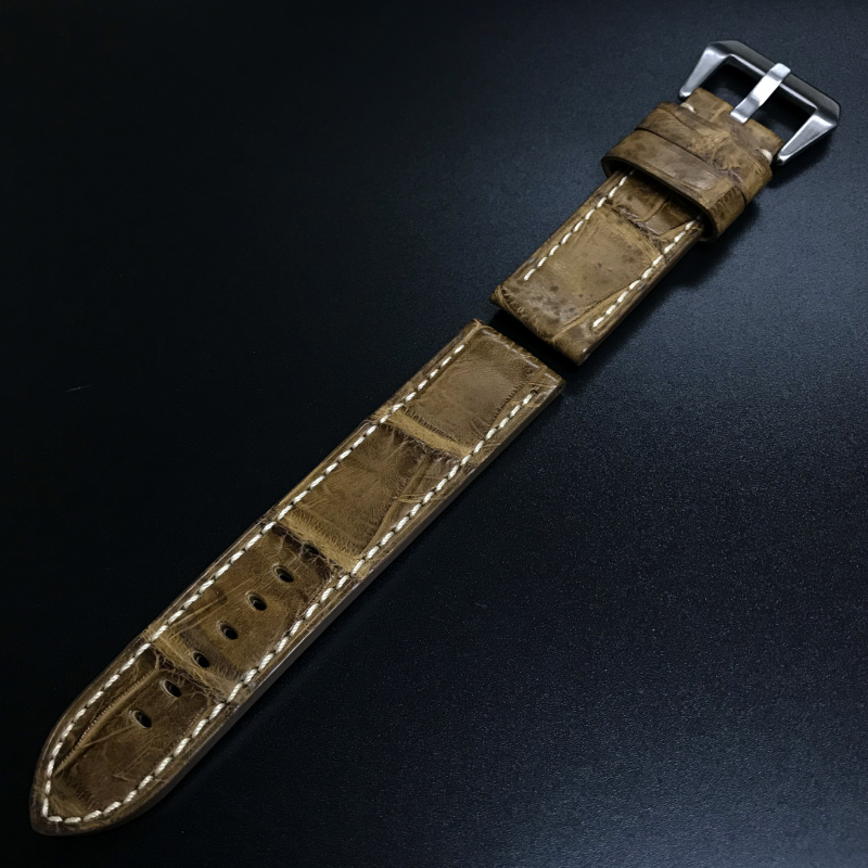 24mm Panerai 啡色鱷魚皮錶帶