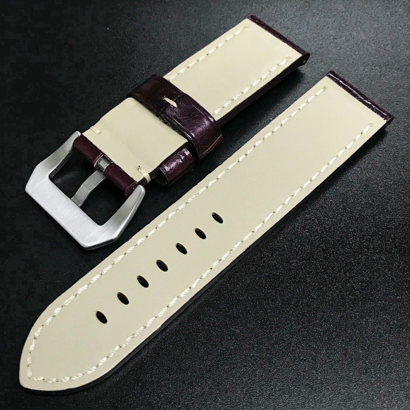 24mm Panerai 茄紫色鱷魚皮錶帶