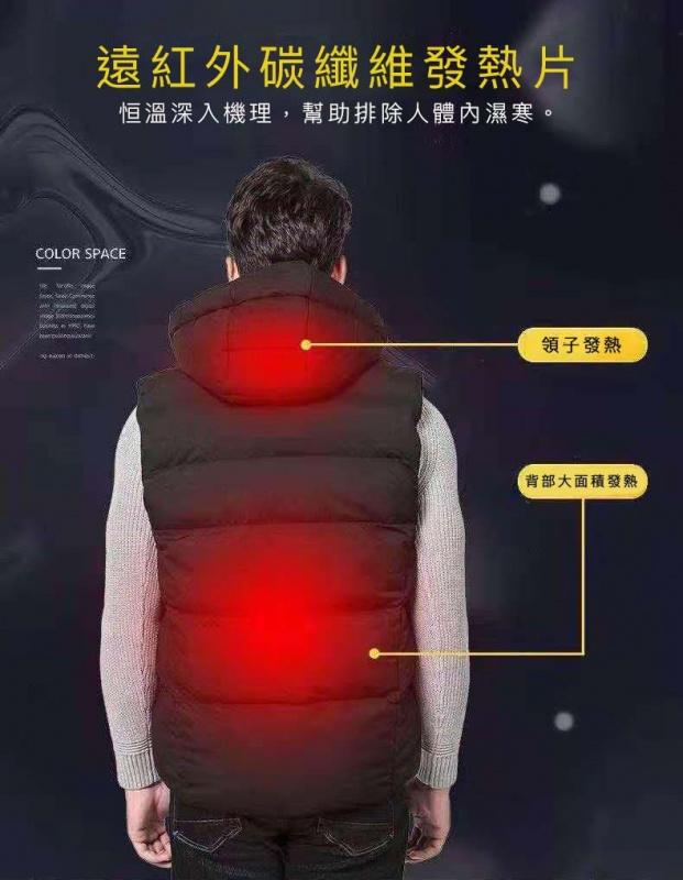 ZOHO 升級有帽版智能發熱背心 [6尺寸]