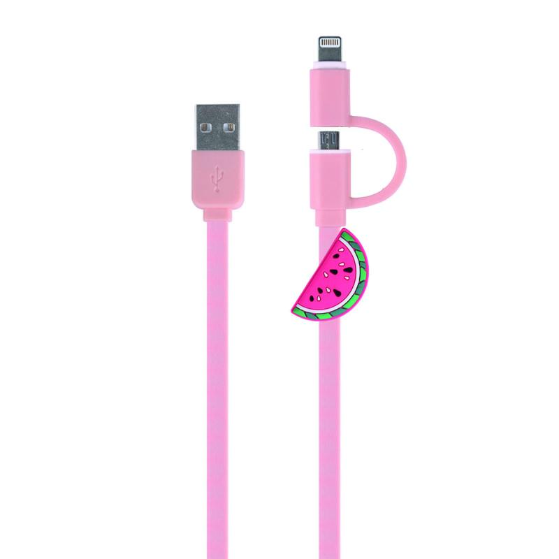 Connect 充電線/ 數據線 2 合 1, Micro USB 或 Lightning 8pin 轉USB, Micro USB/ 8pin cable 2 in 1, 1.5m, 西瓜款