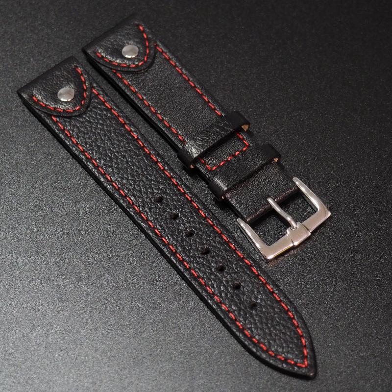 全新20mm黑色牛皮錶帶配紅色縫線 (適合Rolex, Omega, IWC ,Tudor)
