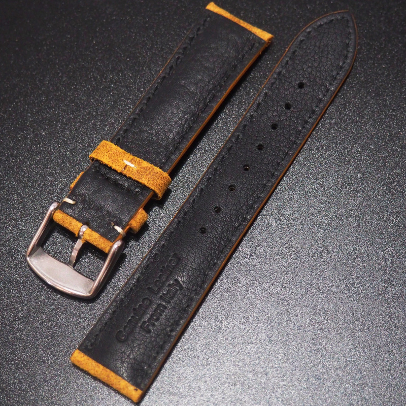 全新20mm 懷舊黃色意大利牛皮錶帶