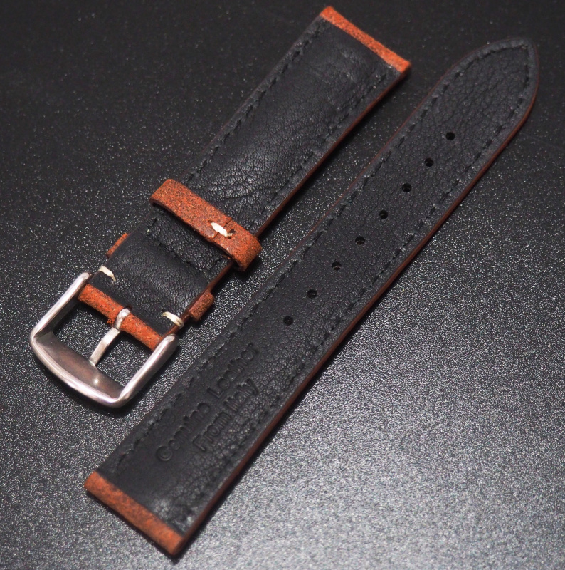 全新20mm 懷舊橙色意大利牛皮錶帶 (適合Rolex, Omega, IWC ,Tudor )