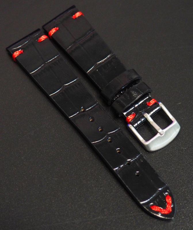 全新20mm 經典黑色鱷魚紋牛皮錶帶配紅縫線