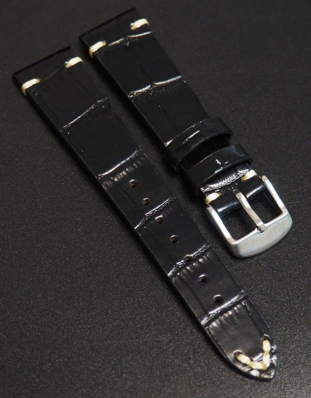 全新20mm 經典黑色鱷魚紋牛皮錶帶配紅縫線 (適合Rolex, Omega, IWC ,Tudor)