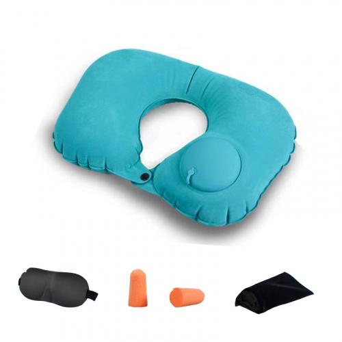 旅行三寶 按壓型絨面充氣旅行頸枕連眼罩及耳塞 [4色]