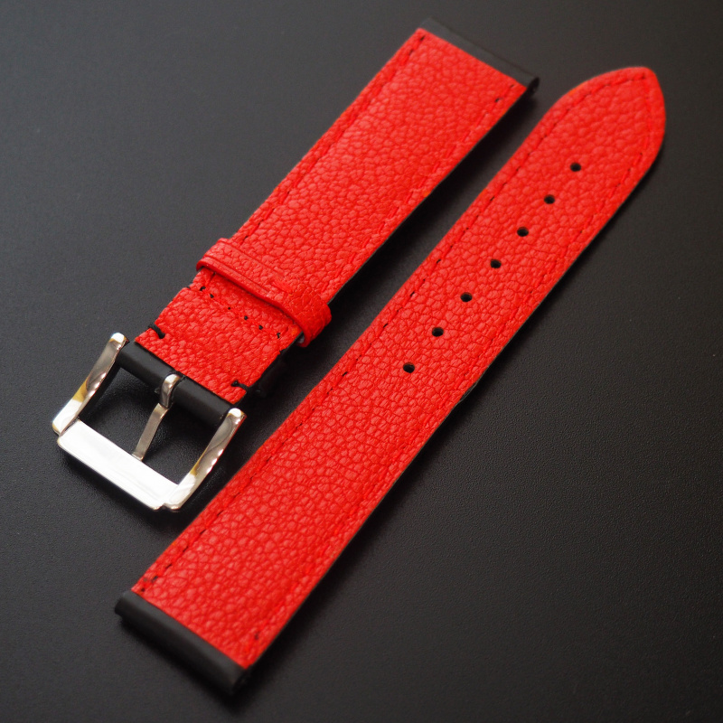 全新 20mm 黑牛皮錶帶配紅色搭環 適合Rolex, Omega, IWC ,Tudor, Seiko