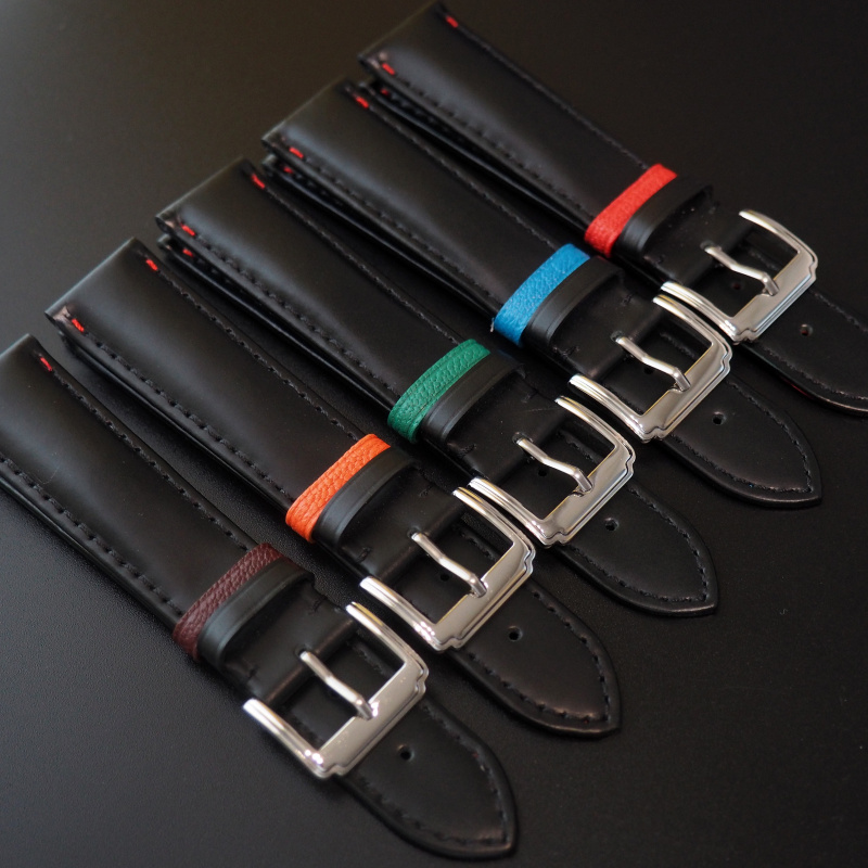 全新 20mm 黑牛皮錶帶配綠色搭環 適合Rolex, Omega, IWC ,Tudor, Seiko