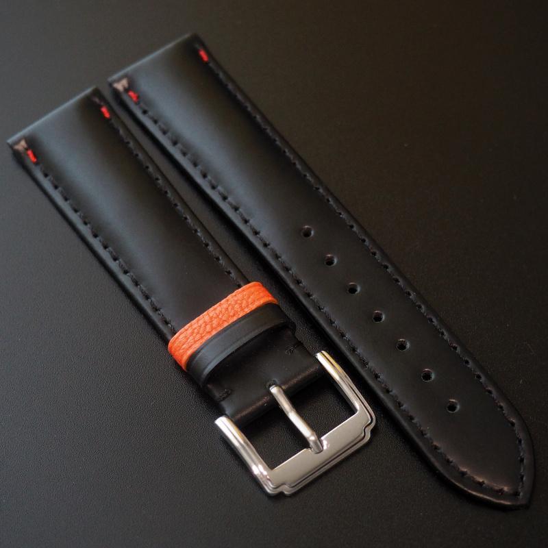全新 20mm 黑牛皮錶帶配橙色搭環 適合Rolex, Omega, IWC ,Tudor, Seiko