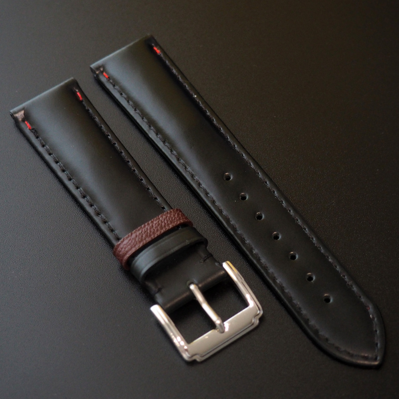 全新 20mm 黑牛皮錶帶配棕色搭環 適合Rolex, Omega, IWC ,Tudor, Seiko