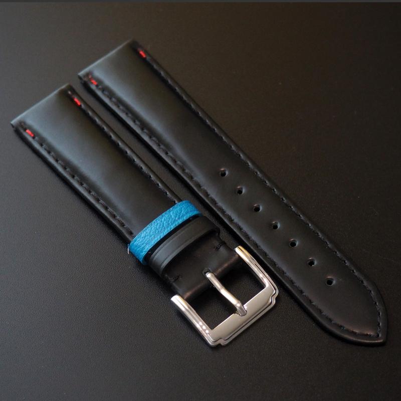 全新 20mm 黑牛皮錶帶配藍色搭環 適合Rolex, Omega, IWC ,Tudor, Seiko