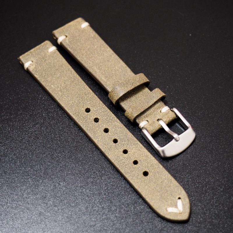 18mm 經典橄欖綠色意大利牛皮錶帶 適合Rolex, Omega, Iwc ,Tudor, Seiko