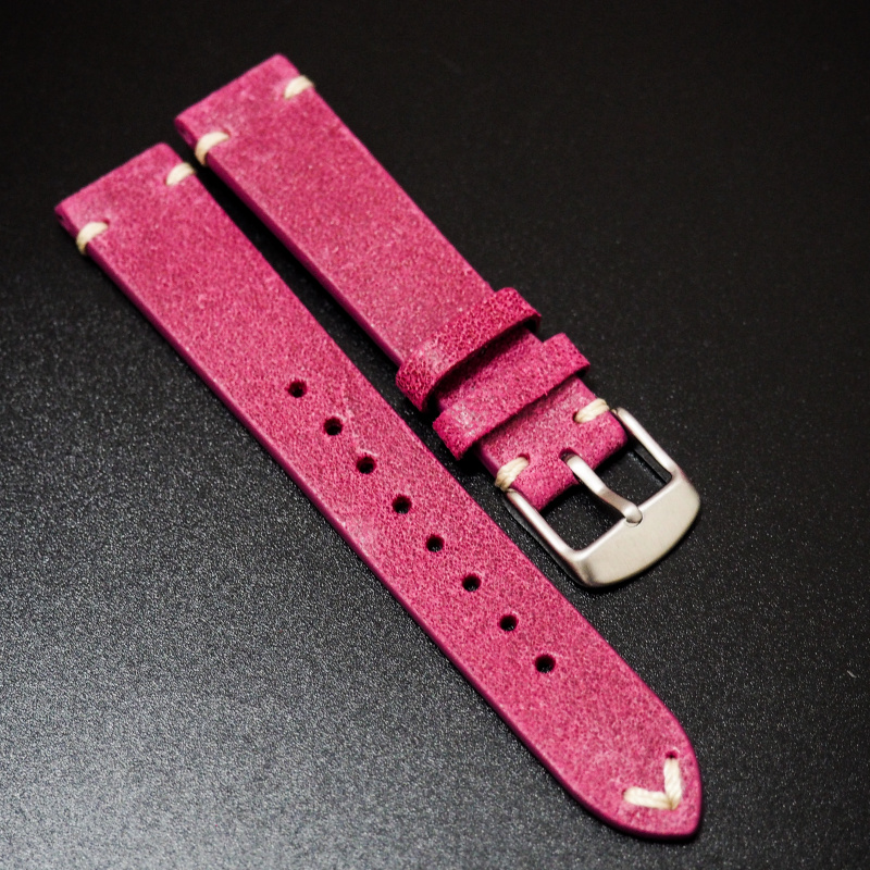 18mm 經典玫瑰粉意大利牛皮錶帶 適合Rolex, Omega, Iwc ,Tudor, Seiko