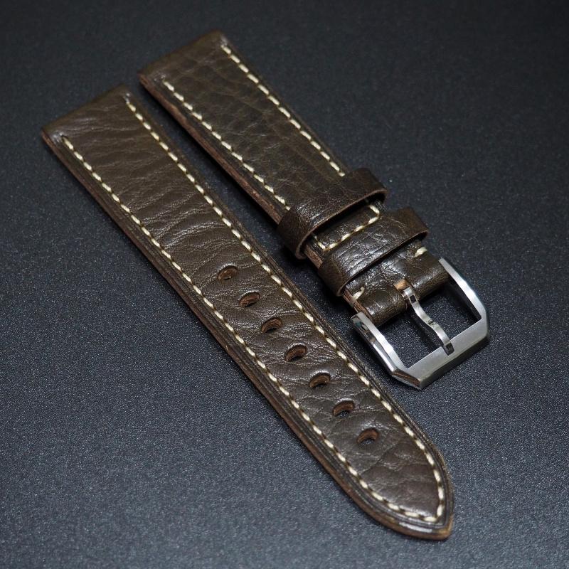 全新20mm 鴨屎綠色優質厚牛皮錶帶配精鋼針扣 合適 Rolex, IWC, Panerai & Seiko etc.